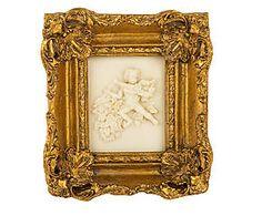 Cornice dorata con decoro a rilievo castellamonte - 18x19x4 cm