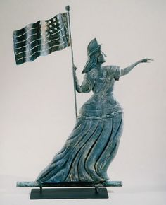Goddess of Liberty Weathervane Dimensions: H Date / Circa: Maker / Origin: Attributed to Thomas W. Jones, New York City Medium: molded and sheet copper Patriotic Symbols, Patriotic Crafts, Lightning Rod, Artist And Craftsman, Weather Vanes, American Flag, American Independence, Musa, Old Glory