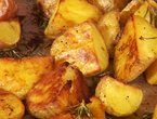 Roasted Rosemary Potatoes- 1.5 lbs small potatoes, 1/8 c olive oil, 3/4 tsp kosher salt, 1/2 tsp fresh bl pepper, 1 T minced garlic, 2T minced fresh rosemary ; quarter spuds, mix with all, roast single layer 400F, 1 hour. Flip twice during cooking
