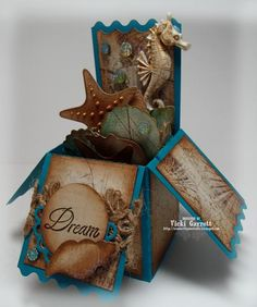 Ocean in a Box by summerthyme64 - Cards and Paper Crafts at Splitcoaststampers   Love this--an more adult beach theme. Colors are great! I have got to make this one!