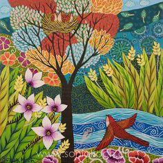 Sonia Koch | Pintora e Ilustradora | NATURALEZA Pattern Art, Pattern Design, Tree Of Life Painting, Art Story, Painting & Drawing, Illustration Art, Illustrations, Folk Art, Whimsical