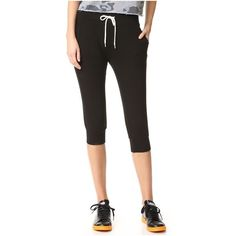 MONROW Cropped Sporty Sweatpants ($115) ❤ liked on Polyvore featuring activewear, activewear pants, black, cuff sweat pants, cropped sweatpants, lightweight sweat pants, sweat pants and cuffed sweatpants