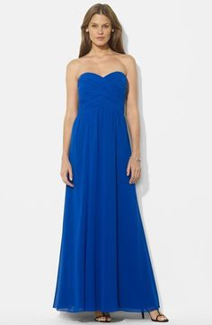 Lauren Ralph Lauren Ruched Strapless Chiffon Gown (Regular & Petite) available at #Nordstrom