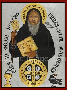 Saint Benedict Icon Print by Sacred Image Icons - Commissioned Icons and Prints by Vivian Imbruglia @ www.sacredimageicions.com