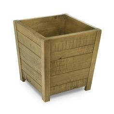 Cachepot Fontana Pequeno em Madeira Maciça - Castanho Oregon Tall Planter Boxes, Tall Planters, Wood Planters, Wooden Basket, Tree Slices, Outdoor Furniture, Outdoor Decor, Woodworking Projects, Diy And Crafts