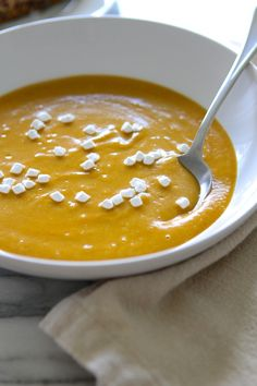 Coconut Curry Sweet Potato Soup...with marshmallows! So yummy and {almost} Vegan!