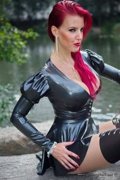 Black fit and flare mini latex dress with long sleeves and plunging neckline. Fetish Fashion, Latex Fashion, Latex Lady, Honey Hair, Latex Dress, Sexy Latex, Latex Girls, Couture Fashion, Fit And Flare