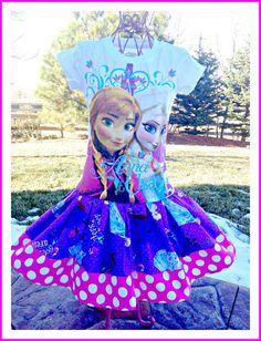 disney fabric | ... girls FROZEN Princess Anna Elsa Disney by BlossomBlueBoutique, $36.99