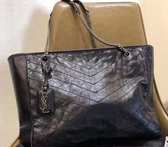 c6b8f7f4f5 YSL 2018 Saint Laurent Large Monogramme Niki Shopping Bag in Black Vintage  Leather Saint Laurent Bag