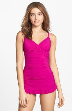 Free shipping and returns on Profile By Gottex 'Tutti Frutti' Swimdress at Nordstrom.com. A wrapped bodice and ruffle finish maximize the feminine appeal of a flirty skirted swimdress designed with curve-creating shirring and a hidden tummy-control panel that minimizes trouble spots, real or imagined.