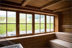 Sauna at Wellness Area - Visiting Almhütte Cervosa Alm - belonging to Hotel Cervosa in Serfaus - Rainy day in the alps - at Serfaus-Fiss-Ladis Region in Austria / Österreich - Tyrol / Tirol