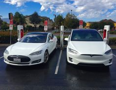 The Tesla Model X (right) shares the same platform and 30% of the parts of the Tesla Model S (left).