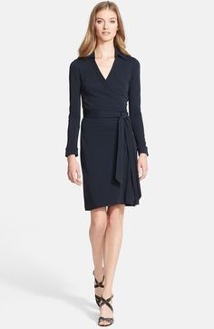 Free shipping and returns on Diane von Furstenberg 'New Jeanne Two' Jersey Wrap Dress at Nordstrom.com. Supple stretch jersey forms an iconic dress visually balanced by a point collar and sash belt.