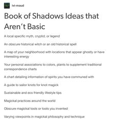 Book of Shadow Ideas