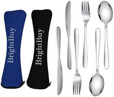 Brightbuy 6 Pieces Camping Silverware Utensil Set, Stainless Steel Flatware Set Knife Fork Spoon,Lightweight Travel Portable Utensils Silverware Set with Neoprene Case, Reusable Lunch Box Cutlery Set | TravelTresure Utensil Set, Flatware Set, Grid Tool, Knife And Fork, Stainless Steel Flatware, Travel Products, Kitchen Items, Travel Essentials, Spoon