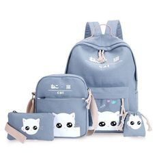 Gray cat backpacks for girl pink print anamals bagpack for school casual crossbody phone set bags coin holder string bag WM111YL