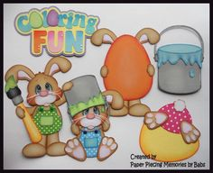 Easter Bunny Set Premade Paper Piecing Die Cut for Scrapbook Page byBabs created by Paper Piecing Memories by Babs