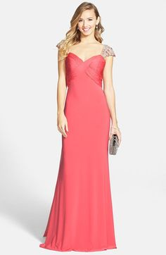 Sherri+Hill+Embellished+Ruched+Jersey+Gown+available+at+#Nordstrom