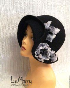"""Купить Шляпка """"Patricia"""" - черный, однотонный, шляпка, шляпка из войлока, авторская ручная работа"""
