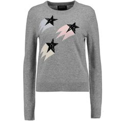 Markus Lupfer - Shooting Star Embellished Intarsia Wool And... ($180) ❤ liked on Polyvore featuring tops, sweaters, light gray, wool sweaters, multicolor sweater, light grey sweater, light gray sweater and multi color sweater