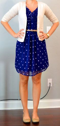 Outfit Posts: outfit post: polka dot dress, cream cardigan, gold belt