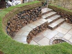 diy stone fire pit with seating | Dry stone seating area and fire pit PRIVATE