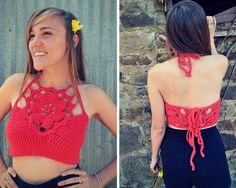 Crochet crop top flower halter pattern von MermaidcatDesigns