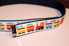 Boys Train Belt Velcro Reversible to Solid by cinchbelts on Etsy