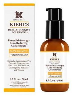 Powerful-Strength Line-Reducing Concentrate skin care by Kiehl's. Anti-aging serum improves texture while reducing fine lines, crows feet & wrinkles around eyes. Anti Aging Treatments, The Body Shop, Mejor Serum Facial, Vitamin C, Marionette Lines, Serum Anti Age, Cleanser, Moisturizer, Beauty Tips
