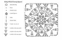 daisy granny square chart