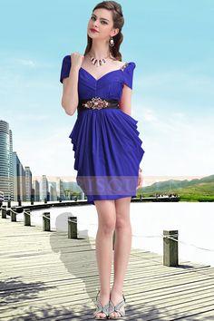 elegant short dresses 2013,short prom dresses ,unique styles blue V-neck dresses