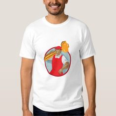 Locksmith Carry Key Circle WPA Shirts. WPA style illustration of a locksmith carrying key on shoulder looking to the side set inside circle on isolated background. #illustration #LocksmithCarryKey