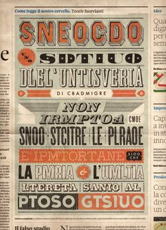 """Nòva24 by Nicolò Giacomin, via Behance / Italian reads: """"Aocdcrnig to rseecrah at Cmabrigde Uinervtisy, it dseno't mttaer in waht oderr the lterets in a wrod are, the olny irpoamtnt tihng is taht the frsit and lsat ltteer be in the rhgit pclae."""""""