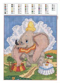 Cross stitch half stitch panel with Dumbo - free cross stitch patterns crochet knitting amigurumi Cross Stitch Disney, Disney Cross Stitch Patterns, Cross Stitch For Kids, Just Cross Stitch, Cross Stitch Bookmarks, Cross Stitch Baby, Cross Stitch Charts, Counted Cross Stitch Patterns, Cross Stitch Designs