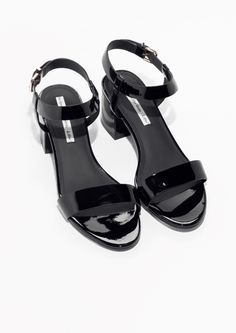 Other Stories image 2 of Leather Ankle Strap Sandal in Black