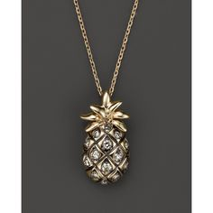 Brown Diamond Pineapple Pendant Necklace in 14K Yellow Gold, .20 ct. ($288) ❤ liked on Polyvore featuring jewelry, necklaces, pendant necklace, 14k yellow gold necklace, 14k gold charms, yellow gold pendant necklace and 14 karat gold necklace