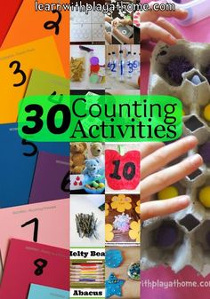 Learn with Play at Home: 30 Counting Activities for Kids.Gotta learn how to count! Numbers Preschool, Learning Numbers, Preschool Kindergarten, Preschool Learning, Early Learning, Fun Learning, Teaching Math, Counting Activities, Preschool Activities