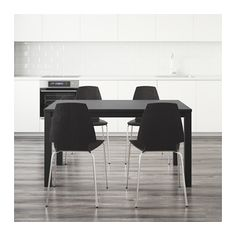 IKEA - BJURSTA / VILMAR, Table and 4 chairs, Extendable dining table with 2 extra leaves seats 4-8; makes it possible to adjust the table size…