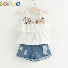 Cheap girls clothing sets, Buy Quality clothing sets directly from China children clothes Suppliers: Sodawn Fashion Girls Clothing Set 2018 Summer Baby Girls Clothes White Jacket Flower Decoration+Denim Shorts Children Clothes Baby Outfits, Little Girl Outfits, Kids Outfits, Summer Outfits, Baby Girl Fashion, Kids Fashion, Fashion Black, Fashion Fashion, Fashion Ideas