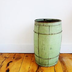 Antique Nail Keg Barrel Green Old Paint by WillowTreeAntiques