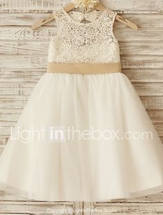 Flower Girl Dress Princess Knee-length - Lace / Tulle Sleeveless Scoop with Bow(s) / Sash / Ribbon 2017 - €53.34