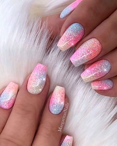 The Best Unicorn Nail Art Design Ideas & Tutorials - Nagelkunst Design - Acrylic nails Sparkly Acrylic Nails, Best Acrylic Nails, Glitter Nails, Pink Sparkly Nails, Nail Pink, Peach Nails, Glitter Glue, Pink Glitter, Cute Nails