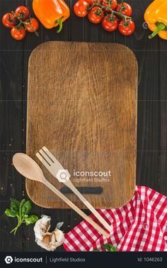 Top View Of Wooden Cutting Board With Utensils And Ingredients On Table Photo Table Top View, Yellow Plates, Drink Photo, Menu Restaurant, Wooden Tables, Utensils, Book Covers, Cutting Board, Vector Free