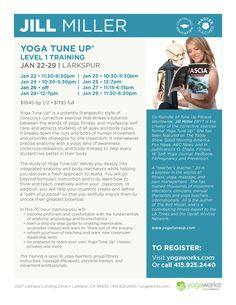 """It's almost time for Yoga Tune Up®! Jill Miller's class begins next week on January 22 at YogaWorks Larkspur! If you can't sign up for the entire Level 1 Training, there are still a couple """"drop-in"""" slots available.  The study of Yoga Tune Up delves you deeply into integrated anatomy and body mechanics while helping you discover a fresh approach to asana. www.yogatuneup.com  Sign up soon! http://www.yogaworks.com/events/workshops/nc/2015/january/yoga%20tune%20up"""