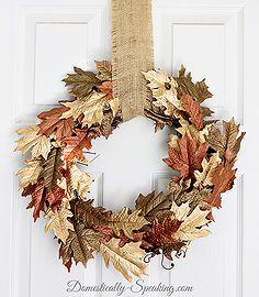 fall wreath metallic browns gold leaf painted, chalk paint, crafts, how to, seasonal holiday decor, wreaths