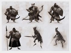 | Moby Francke https://www.facebook.com/CharacterDesignReferences. Nice silhouettes + confident brush strokes.