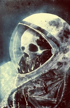 Dead astronaut illustration, skull drawing Me\DL > incidents new scene remember Arte Horror, Horror Art, Skull And Bones, Skeleton Bones, Sci Fi Art, Skull Art, Skull Head, Oeuvre D'art, Art Journals