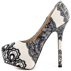 SteveMadden Steve Madden womens shoes high heels platform pumps black white lace stiletto