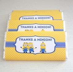Minions / Despicable Me - Party Favours / Candy Wrapper / Chocolate Bar Wrapper… Minion Party Theme, Despicable Me Party, Minion Birthday, Boy Birthday, Party Themes, Party Ideas, Minion Party Favors, Birthday Ideas, Party Favours