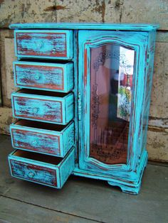 Jewelry Box Turquoise Distressed Wooden by turquoiserollerset, $85.00
